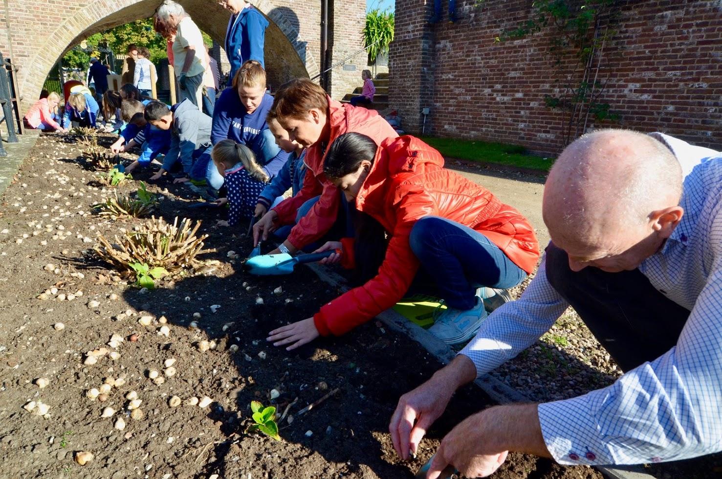 Kinderen en vrijwilligers planten voorjaarsbollen